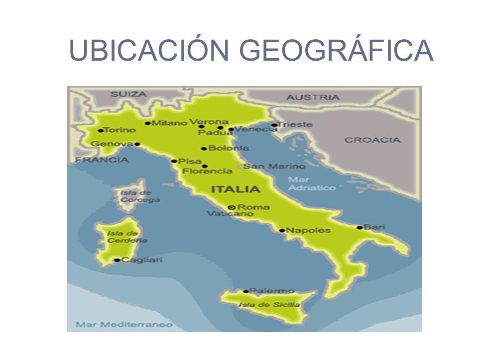 UBICACIÓN GEOGRÁFICA ALPES MAR ADRIATICO MAR TIRRENO MEDITERRÁNEO
