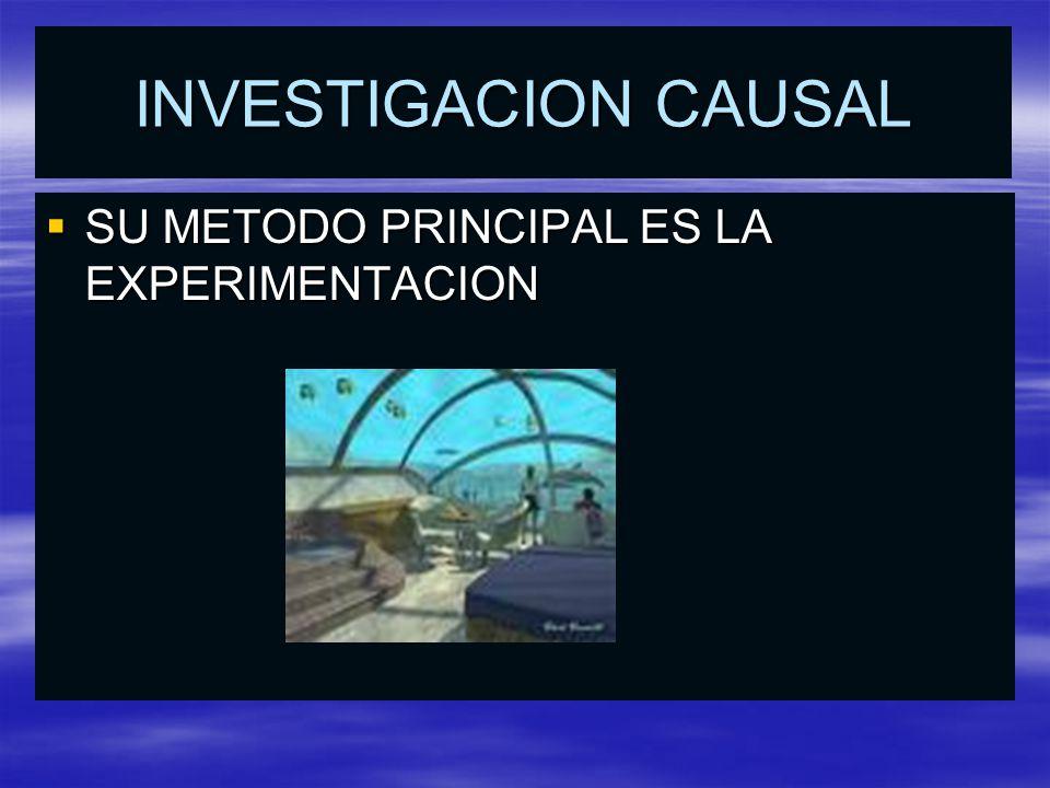 INVESTIGACION CAUSAL SU METODO PRINCIPAL ES LA EXPERIMENTACION