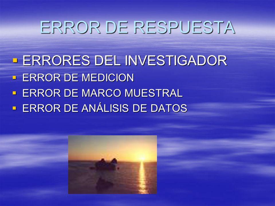 ERROR DE RESPUESTA ERRORES DEL INVESTIGADOR ERROR DE MEDICION