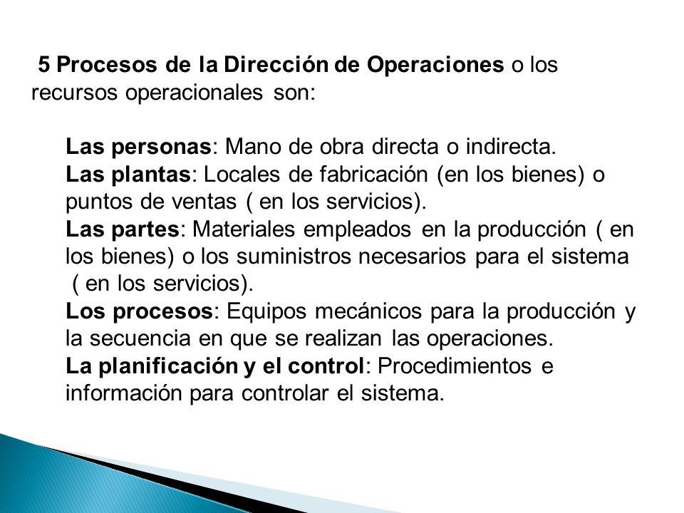 5 Procesos de la Dirección de Operaciones o los recursos operacionales son: