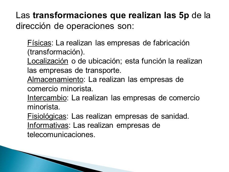 Las transformaciones que realizan las 5p de la dirección de operaciones son: