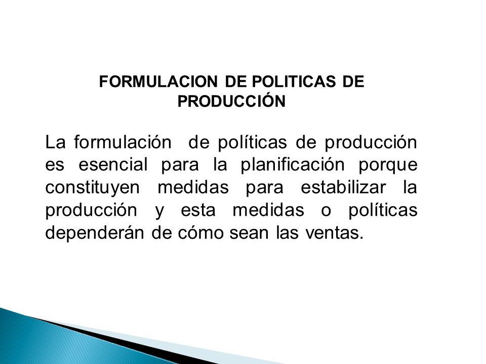 FORMULACION DE POLITICAS DE PRODUCCIÓN