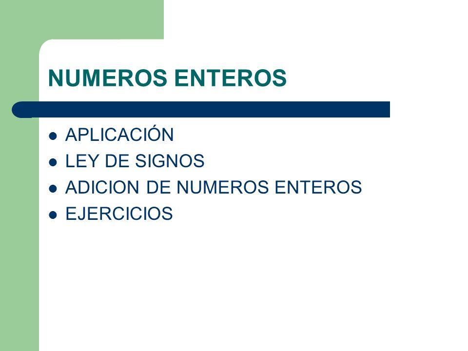 NUMEROS ENTEROS APLICACIÓN LEY DE SIGNOS ADICION DE NUMEROS ENTEROS