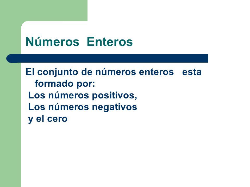 Números Enteros El conjunto de números enteros esta formado por: