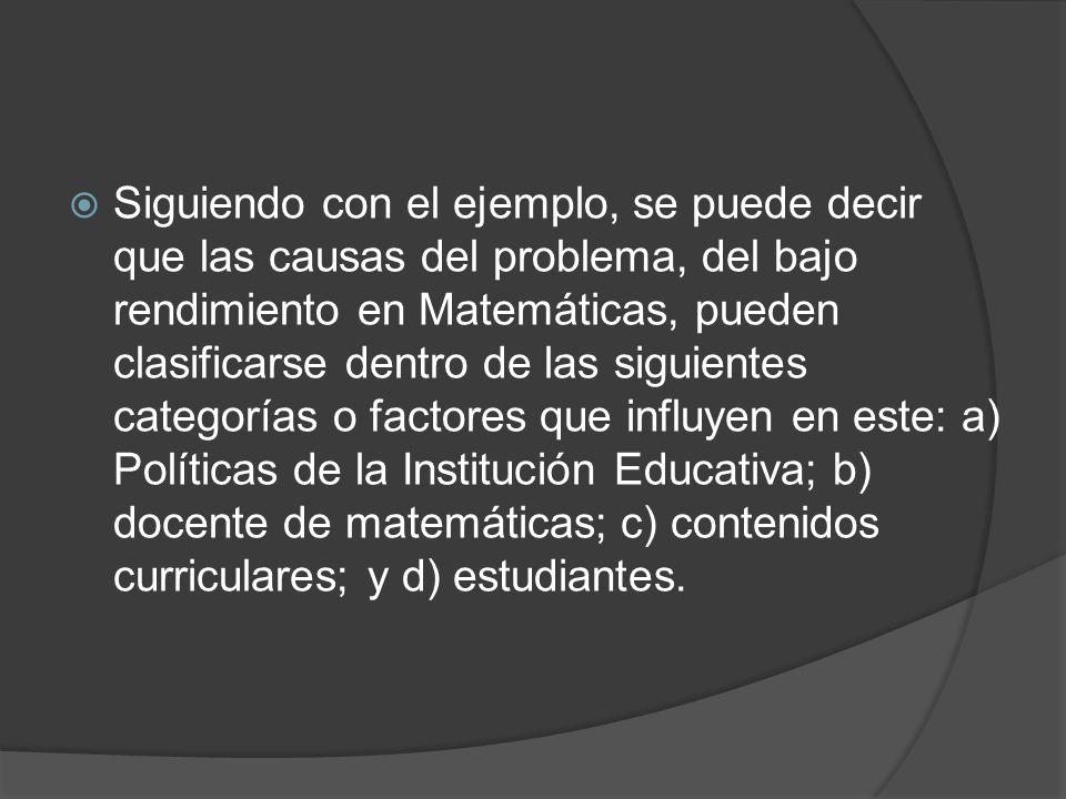 Siguiendo con el ejemplo, se puede decir que las causas del problema, del bajo rendimiento en Matemáticas, pueden clasificarse dentro de las siguientes categorías o factores que influyen en este: a) Políticas de la Institución Educativa; b) docente de matemáticas; c) contenidos curriculares; y d) estudiantes.