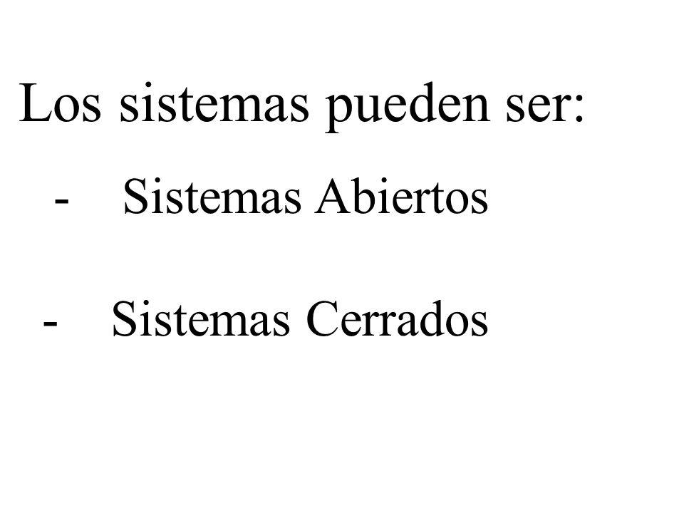 Los sistemas pueden ser: