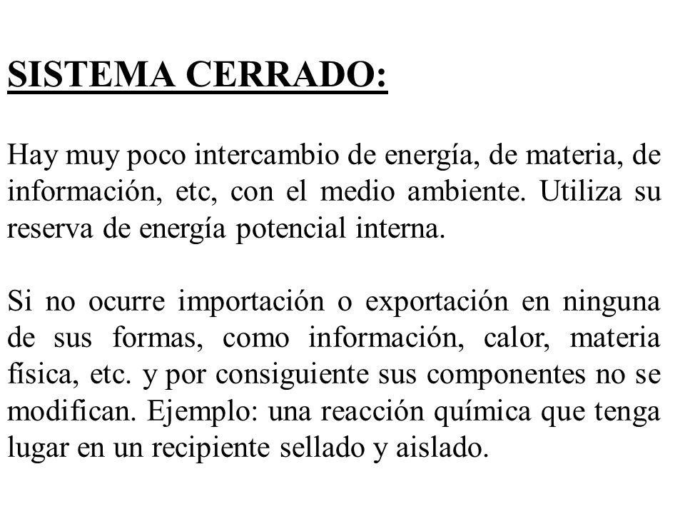 SISTEMA CERRADO: