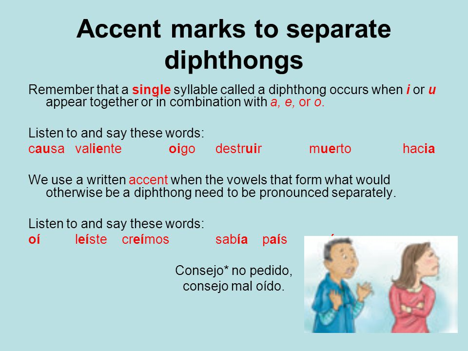 Accent marks to separate diphthongs