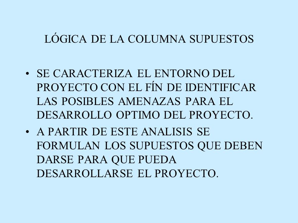 LÓGICA DE LA COLUMNA SUPUESTOS