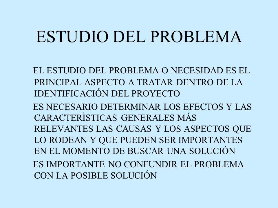 ESTUDIO DEL PROBLEMA EL ESTUDIO DEL PROBLEMA O NECESIDAD ES EL PRINCIPAL ASPECTO A TRATAR DENTRO DE LA IDENTIFICACIÓN DEL PROYECTO.