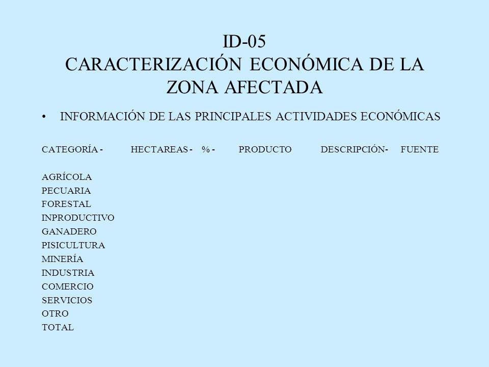 ID-05 CARACTERIZACIÓN ECONÓMICA DE LA ZONA AFECTADA