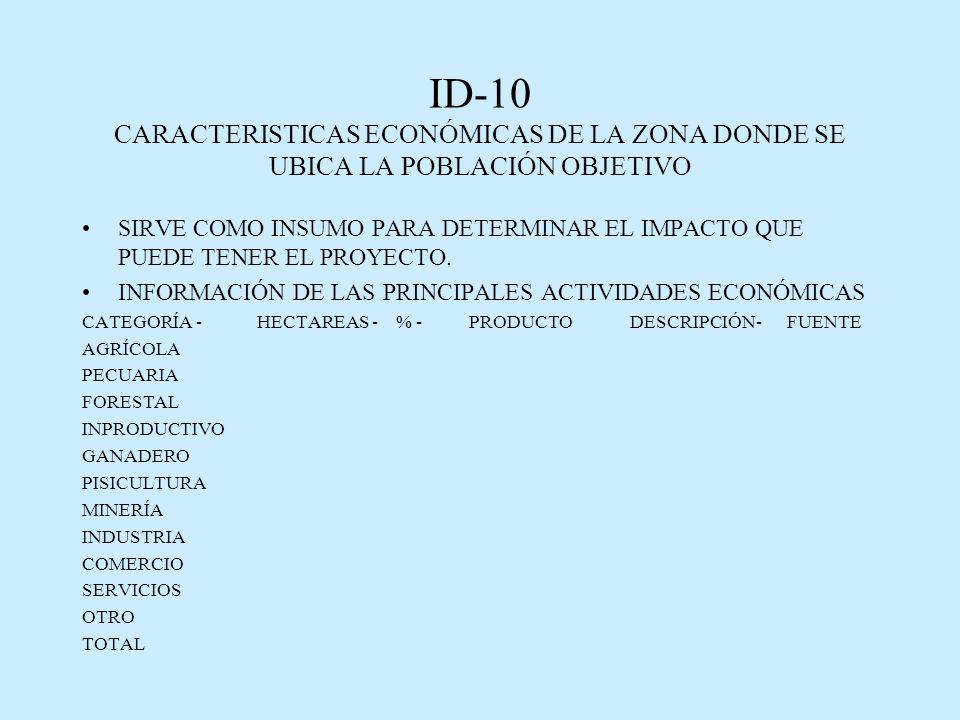 ID-10 CARACTERISTICAS ECONÓMICAS DE LA ZONA DONDE SE UBICA LA POBLACIÓN OBJETIVO