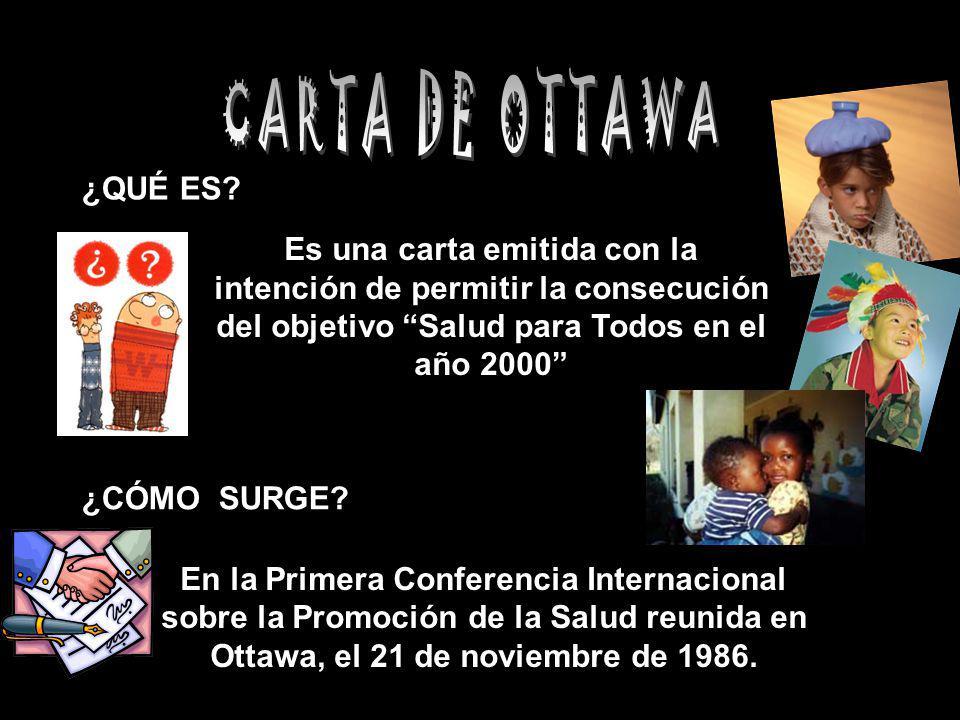 CARTA DE OTTAWA ¿QUÉ ES Es una carta emitida con la intención de permitir la consecución del objetivo Salud para Todos en el año 2000