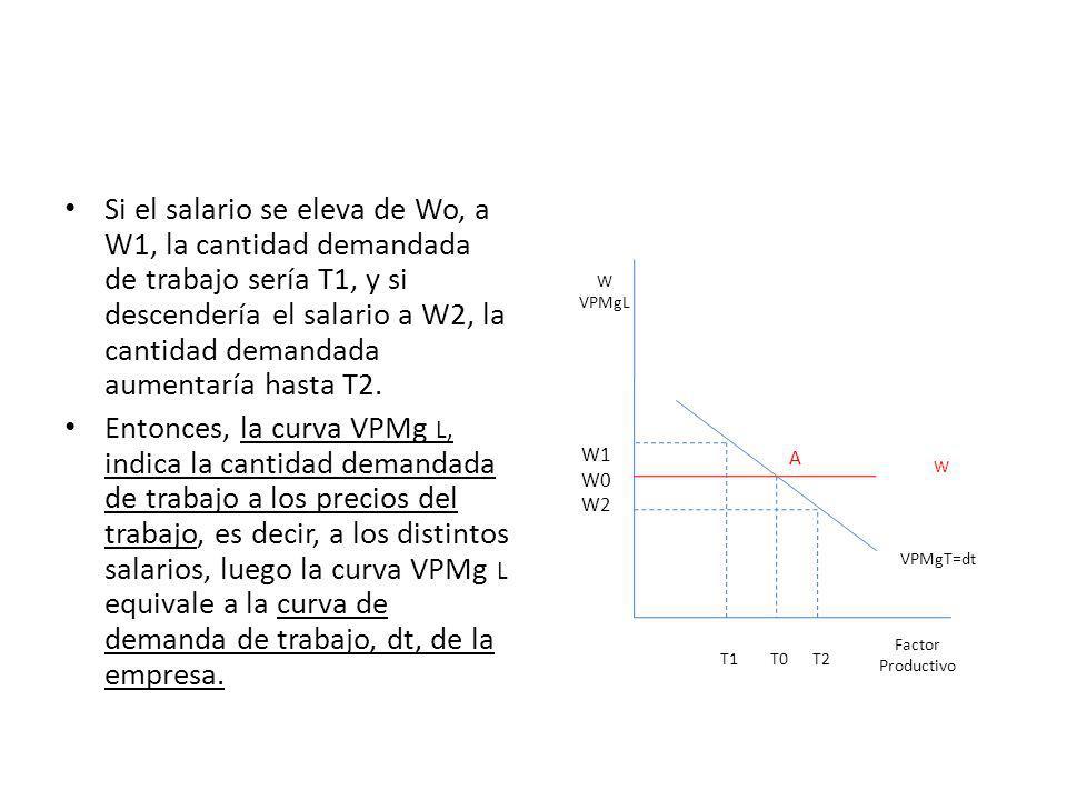 Si el salario se eleva de Wo, a W1, la cantidad demandada de trabajo sería T1, y si descendería el salario a W2, la cantidad demandada aumentaría hasta T2.