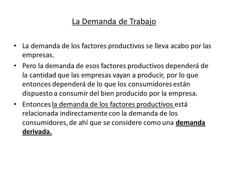La Demanda de Trabajo La demanda de los factores productivos se lleva acabo por las empresas.