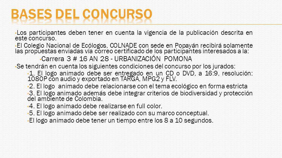 Bases del concurso Carrera 3 # 16 AN 28 - URBANIZACIÓN POMONA