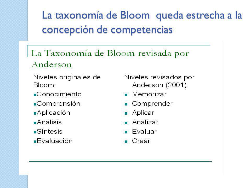 La taxonomía de Bloom queda estrecha a la concepción de competencias