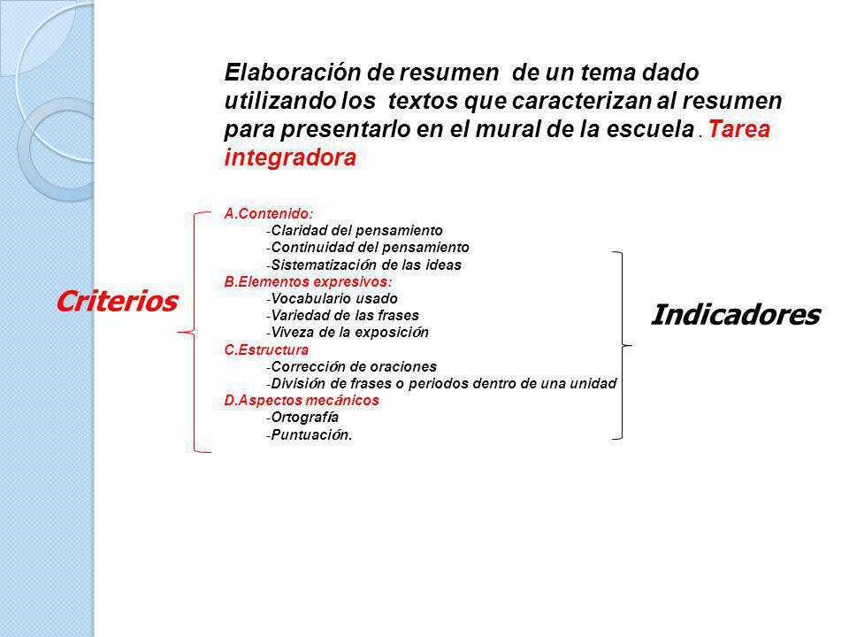 Criterios Indicadores