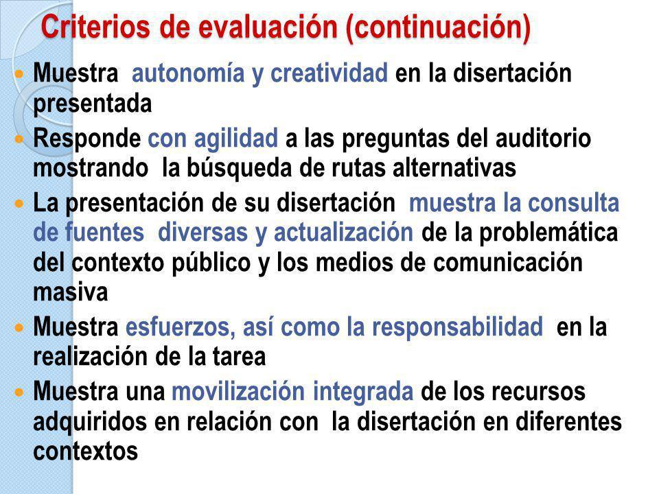 Criterios de evaluación (continuación)