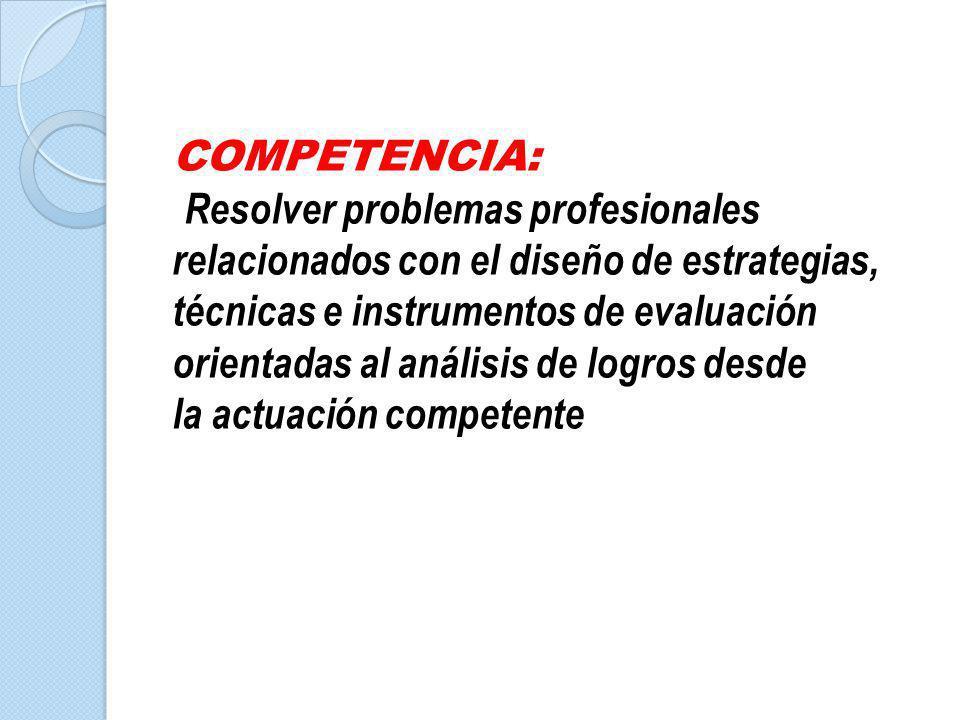 COMPETENCIA: Resolver problemas profesionales relacionados con el diseño de estrategias,