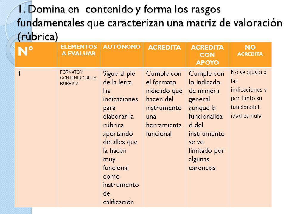 1. Domina en contenido y forma los rasgos fundamentales que caracterizan una matriz de valoración (rúbrica)