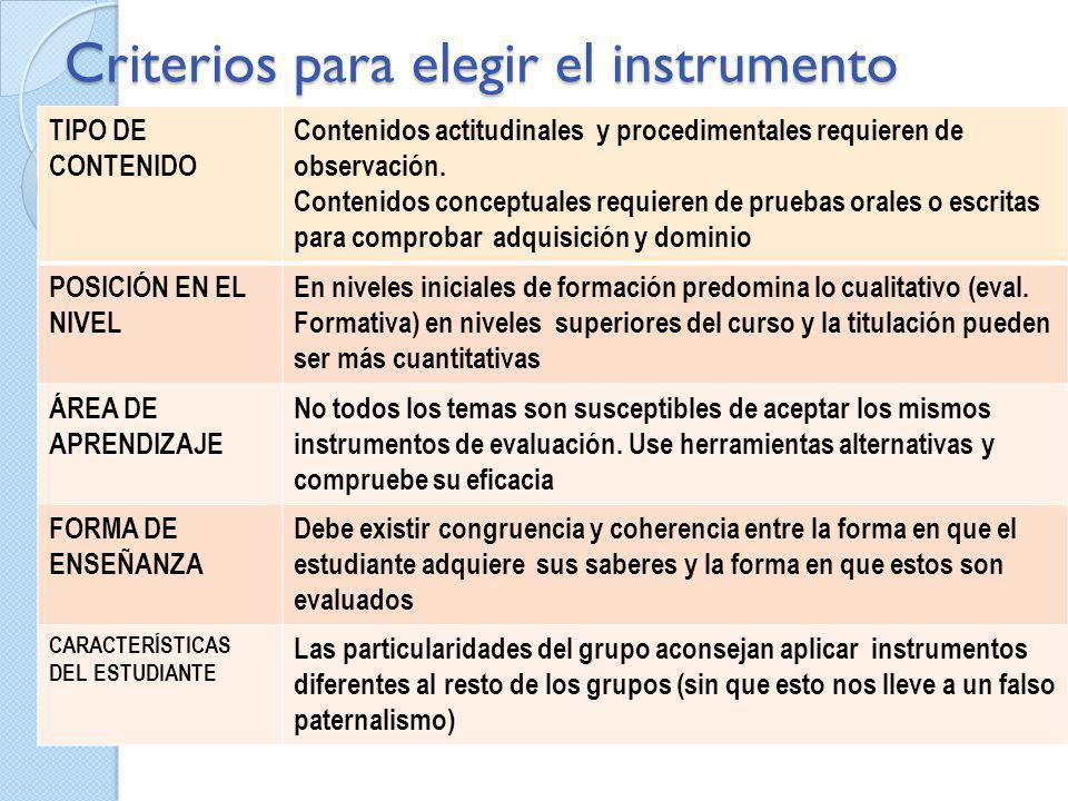 Criterios para elegir el instrumento