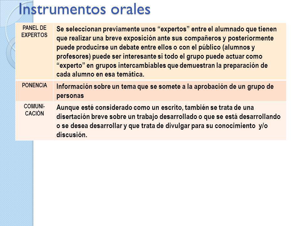Instrumentos orales Panel de expertos.