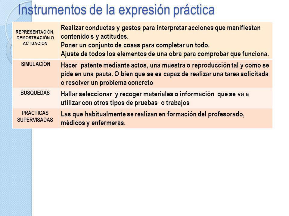 Instrumentos de la expresión práctica