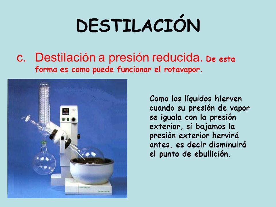 DESTILACIÓN Destilación a presión reducida. De esta forma es como puede funcionar el rotavapor.