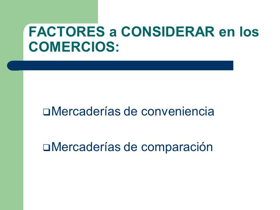 FACTORES a CONSIDERAR en los COMERCIOS: