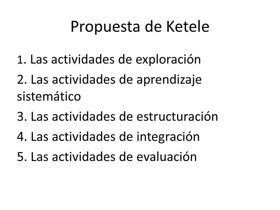Propuesta de Ketele 2. Las actividades de aprendizaje sistemático