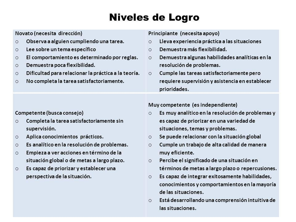 Niveles de Logro Novato (necesita dirección)