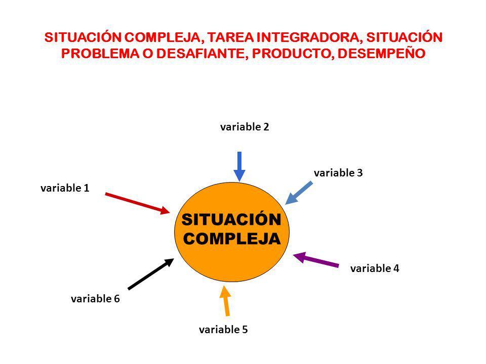 SITUACIÓN COMPLEJA, TAREA INTEGRADORA, SITUACIÓN PROBLEMA O DESAFIANTE, PRODUCTO, DESEMPEÑO
