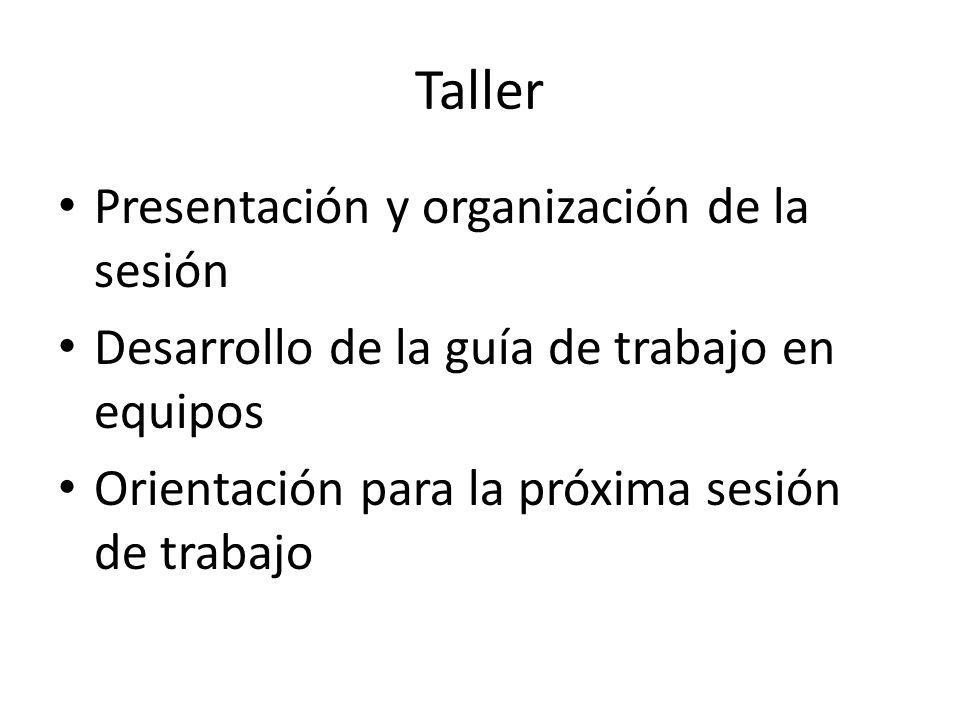 Taller Presentación y organización de la sesión