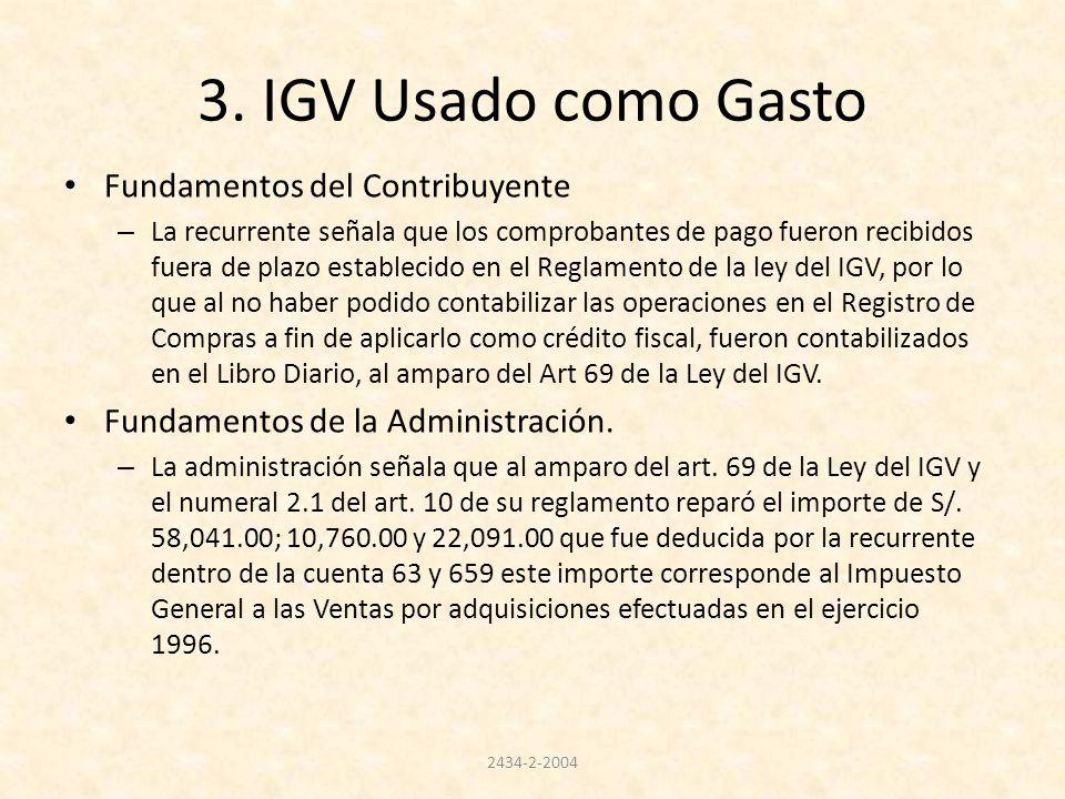 3. IGV Usado como Gasto Fundamentos del Contribuyente