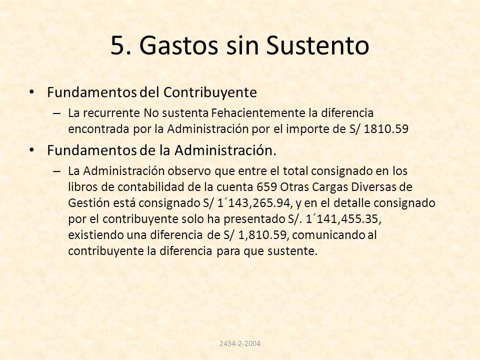 5. Gastos sin Sustento Fundamentos del Contribuyente