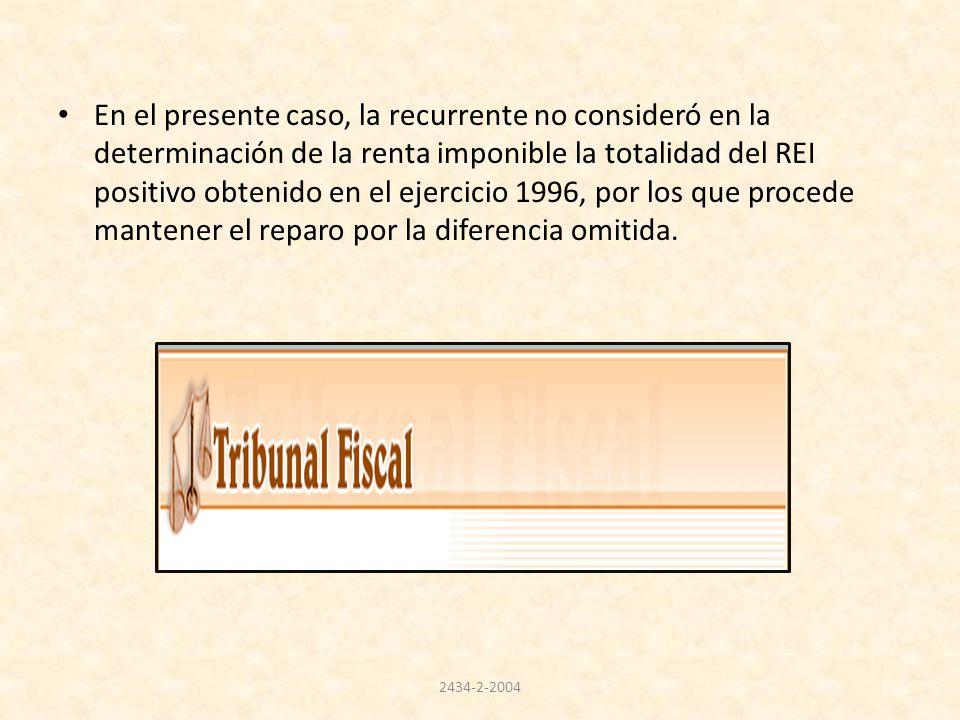 En el presente caso, la recurrente no consideró en la determinación de la renta imponible la totalidad del REI positivo obtenido en el ejercicio 1996, por los que procede mantener el reparo por la diferencia omitida.