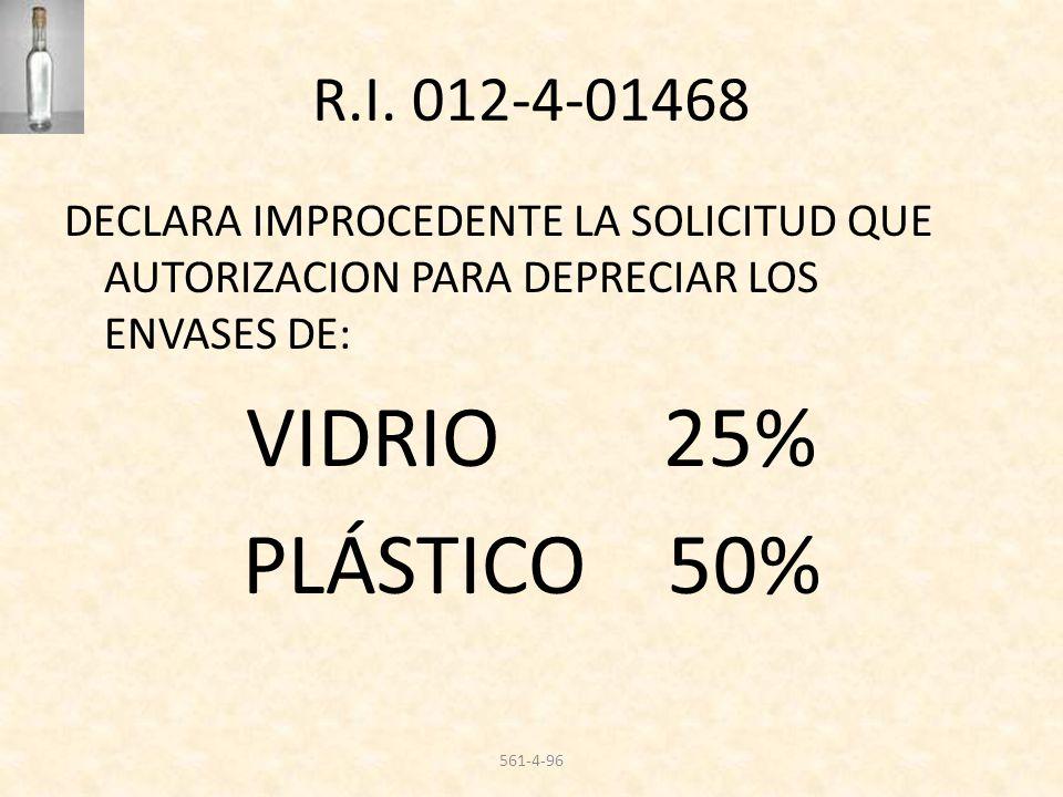 VIDRIO 25% PLÁSTICO 50% R.I. 012-4-01468