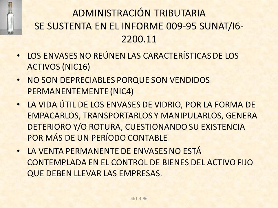 ADMINISTRACIÓN TRIBUTARIA SE SUSTENTA EN EL INFORME 009-95 SUNAT/I6-2200.11