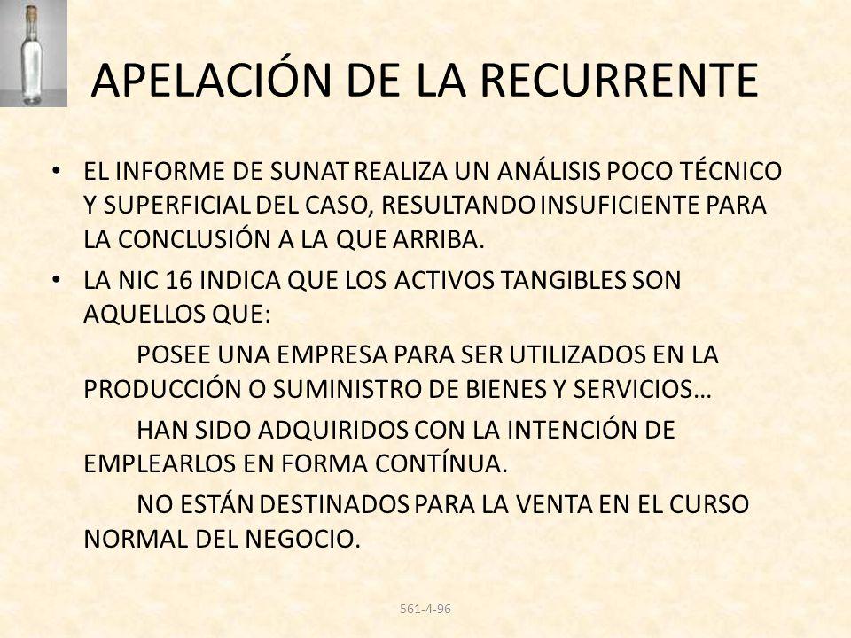 APELACIÓN DE LA RECURRENTE