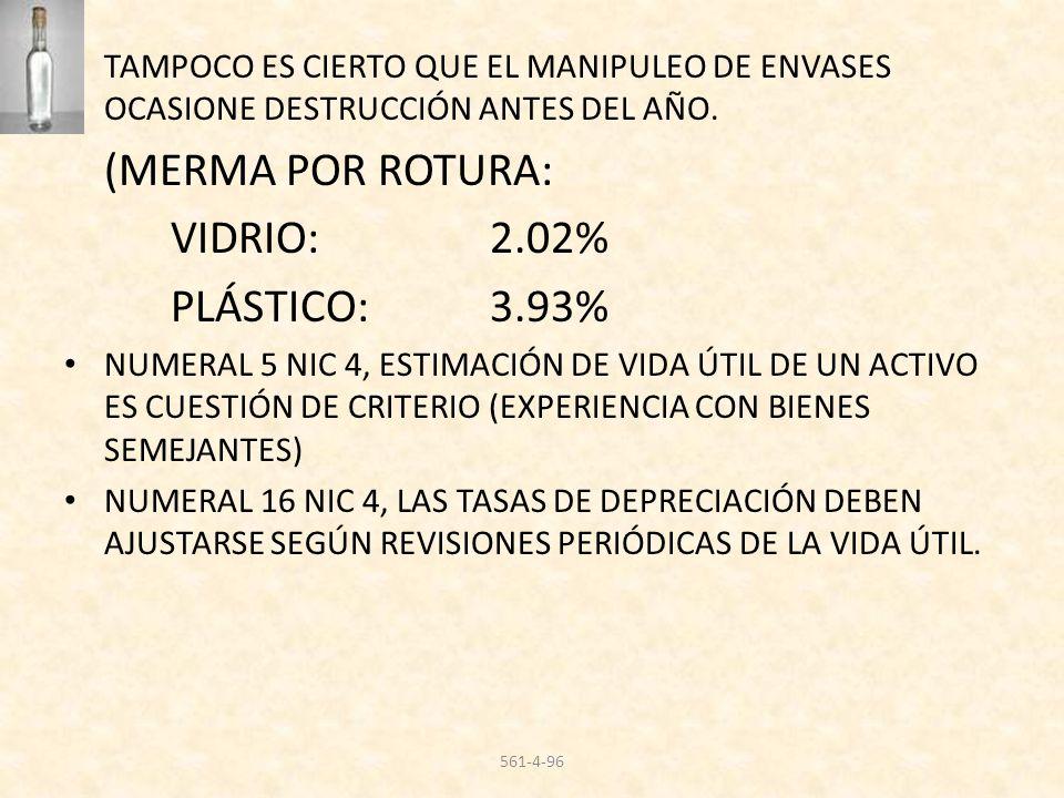 (MERMA POR ROTURA: VIDRIO: 2.02% PLÁSTICO: 3.93%