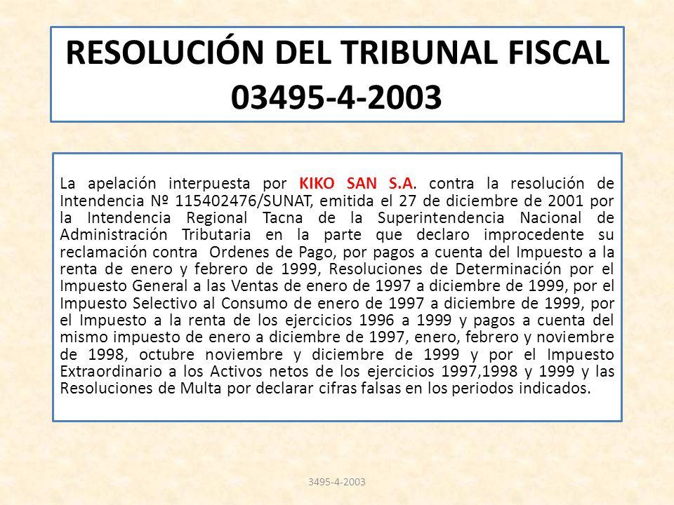 RESOLUCIÓN DEL TRIBUNAL FISCAL 03495-4-2003