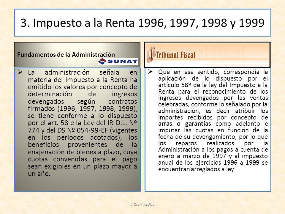 3. Impuesto a la Renta 1996, 1997, 1998 y 1999 Fundamentos de la Administración.