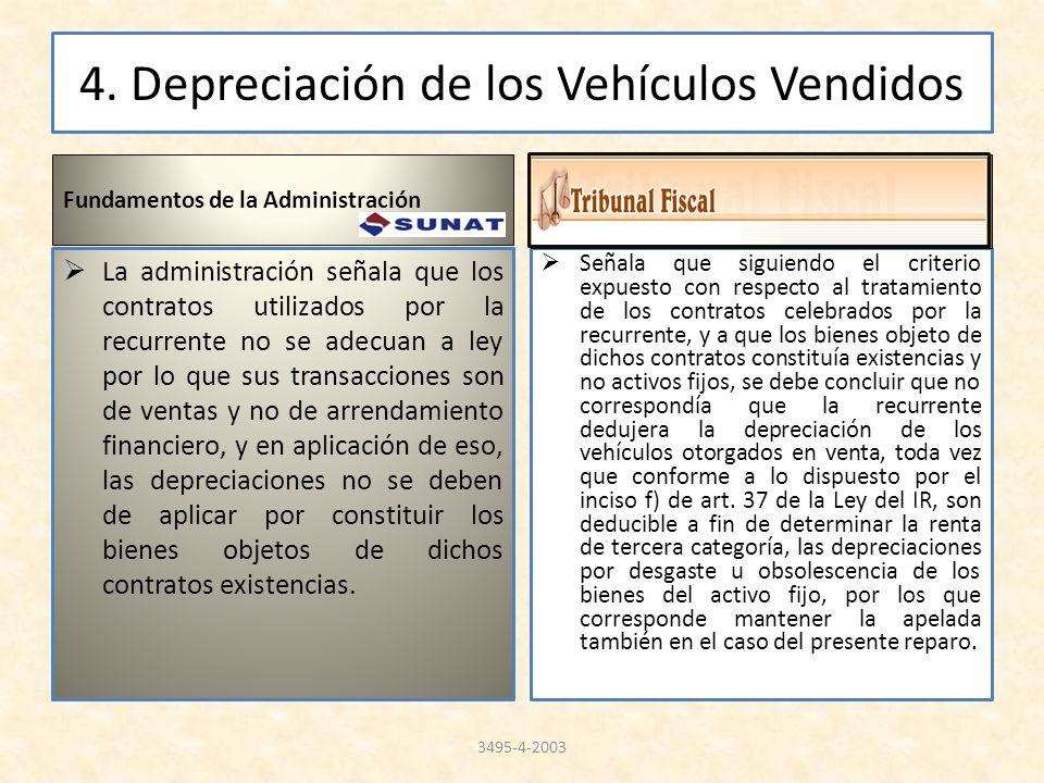 4. Depreciación de los Vehículos Vendidos