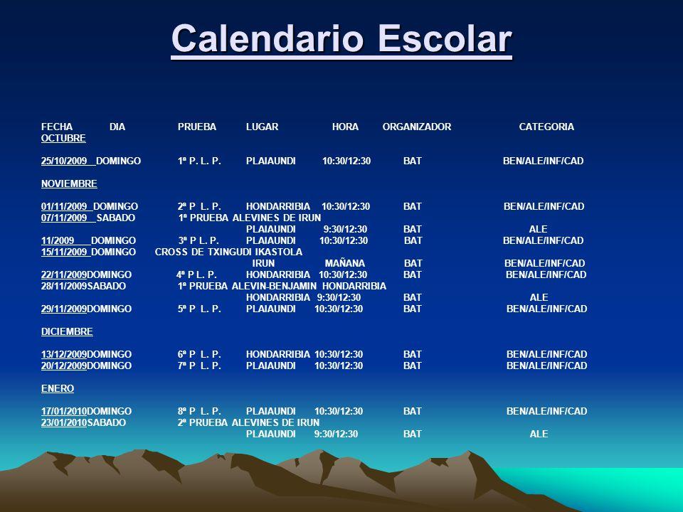 Calendario Escolar FECHA DIA PRUEBA LUGAR HORA ORGANIZADOR CATEGORIA