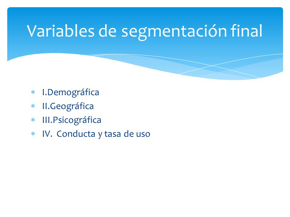 Variables de segmentación final