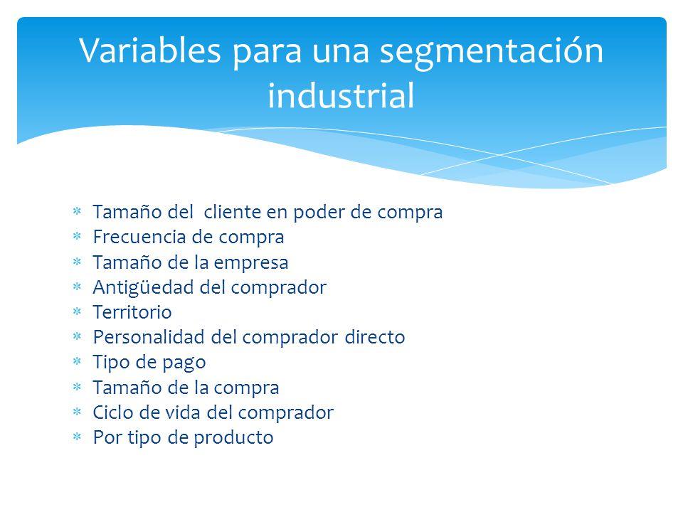 Variables para una segmentación industrial