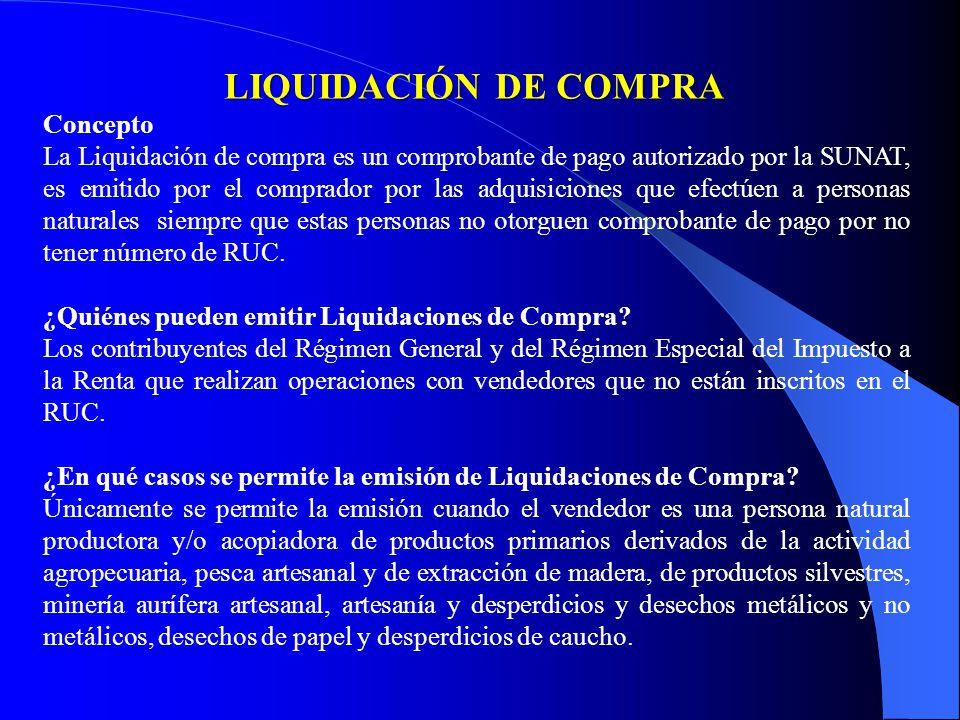 LIQUIDACIÓN DE COMPRA Concepto