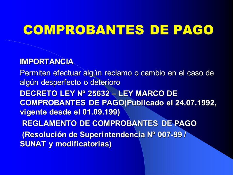 COMPROBANTES DE PAGO IMPORTANCIA
