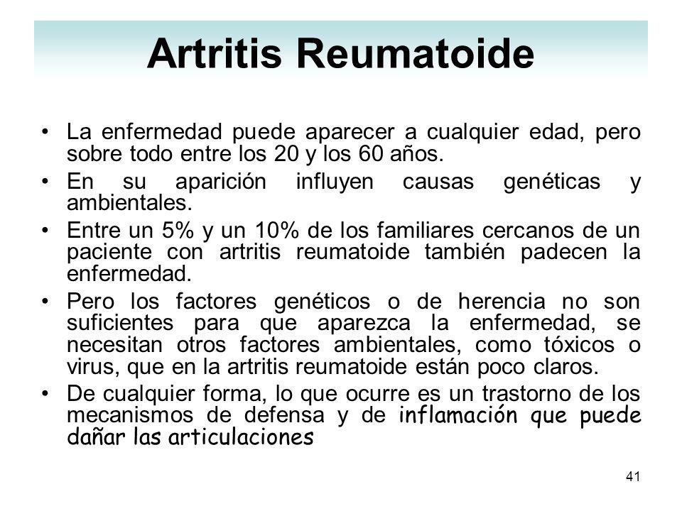 Artritis ReumatoideLa enfermedad puede aparecer a cualquier edad, pero sobre todo entre los 20 y los 60 años.